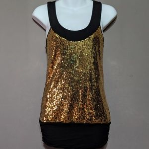 Gold and black sequin shirt